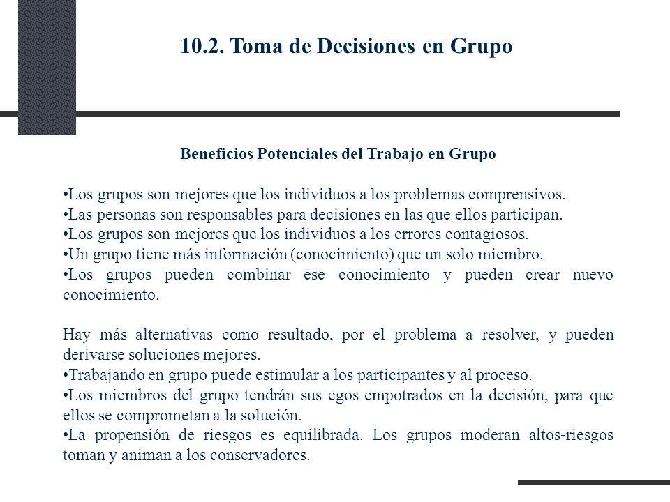 Beneficios Potenciales del Trabajo en Grupo Los grupos son mejores que los individuos a los problemas comprensivos. Las personas son responsables para