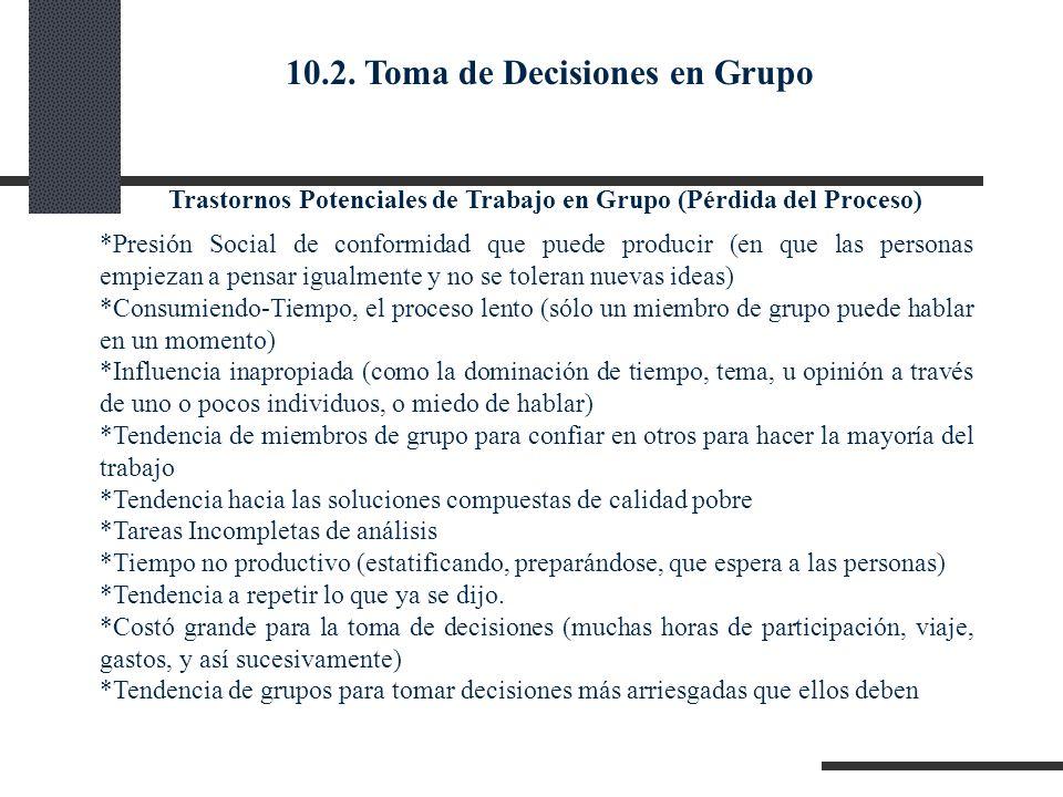 Trastornos Potenciales de Trabajo en Grupo (Pérdida del Proceso) *Presión Social de conformidad que puede producir (en que las personas empiezan a pen