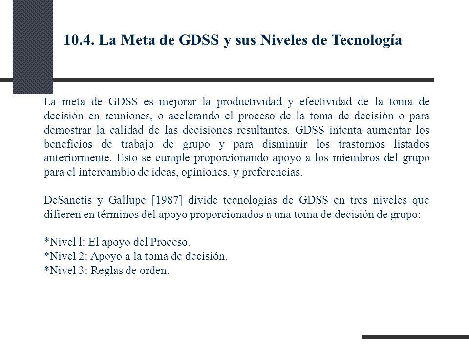 La meta de GDSS es mejorar la productividad y efectividad de la toma de decisión en reuniones, o acelerando el proceso de la toma de decisión o para d