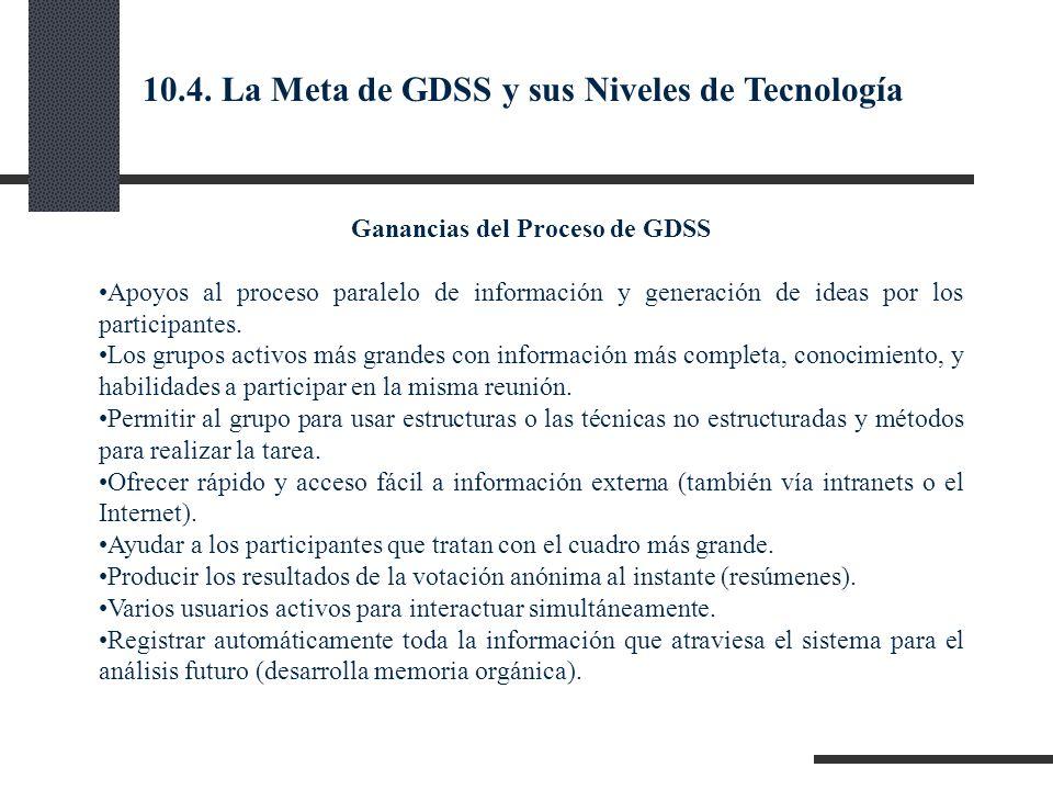 Ganancias del Proceso de GDSS Apoyos al proceso paralelo de información y generación de ideas por los participantes. Los grupos activos más grandes co