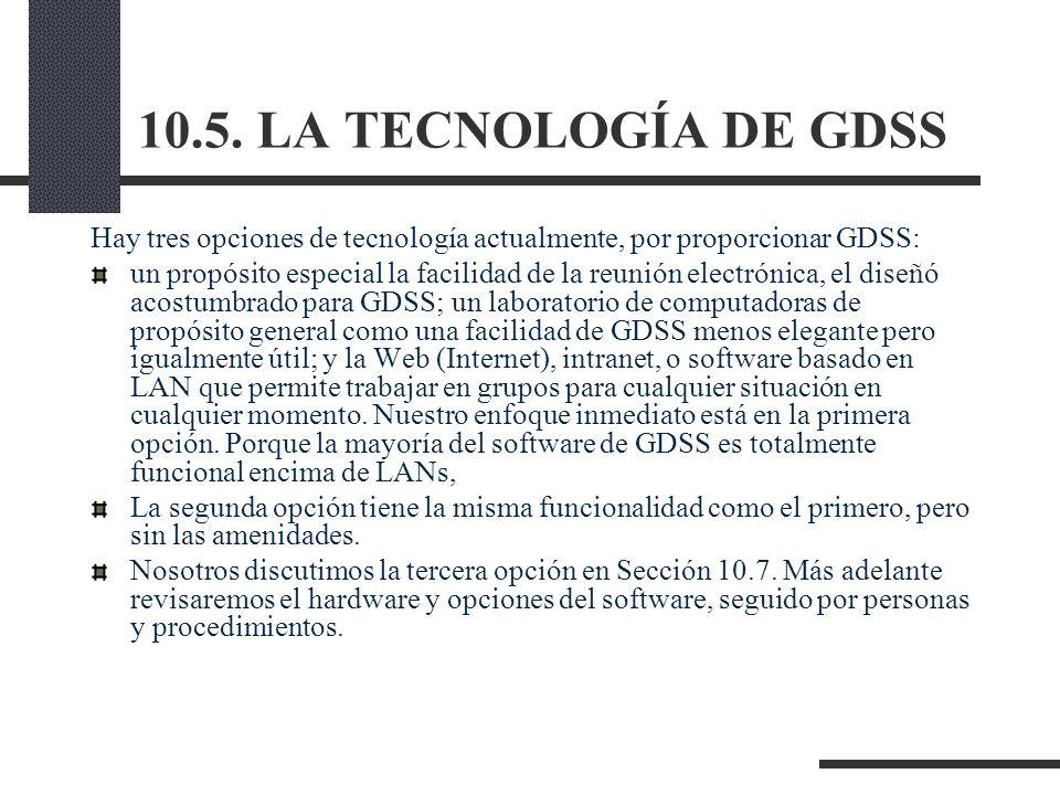 10.5. LA TECNOLOGÍA DE GDSS Hay tres opciones de tecnología actualmente, por proporcionar GDSS: un propósito especial la facilidad de la reunión elect