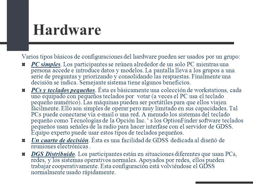 Hardware Varios tipos básicos de configuraciones del hardware pueden ser usados por un grupo: PC simples. Los participantes se reúnen alrededor de un