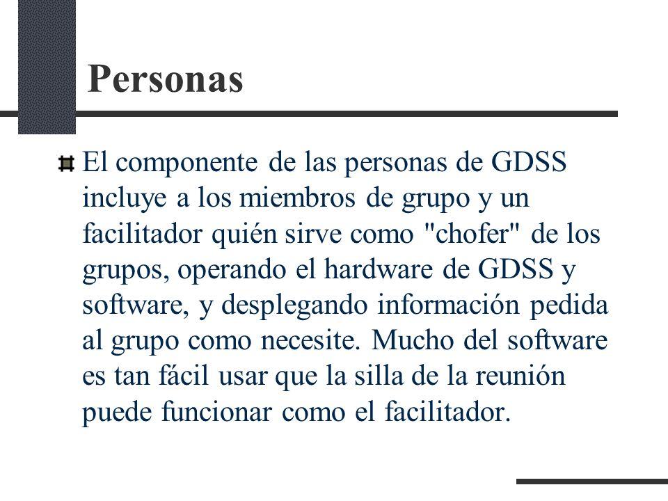 Personas El componente de las personas de GDSS incluye a los miembros de grupo y un facilitador quién sirve como