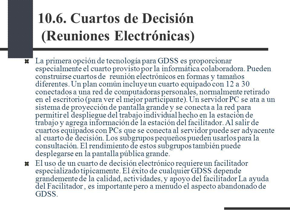 10.6. Cuartos de Decisión (Reuniones Electrónicas) La primera opción de tecnología para GDSS es proporcionar especialmente el cuarto provisto por la i