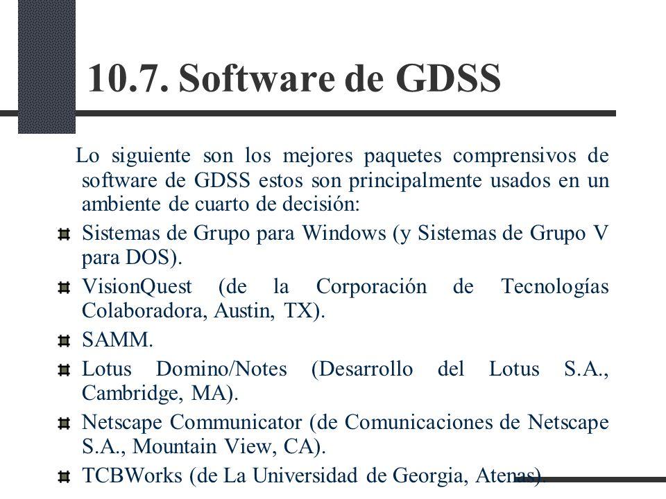 10.7. Software de GDSS Lo siguiente son los mejores paquetes comprensivos de software de GDSS estos son principalmente usados en un ambiente de cuarto