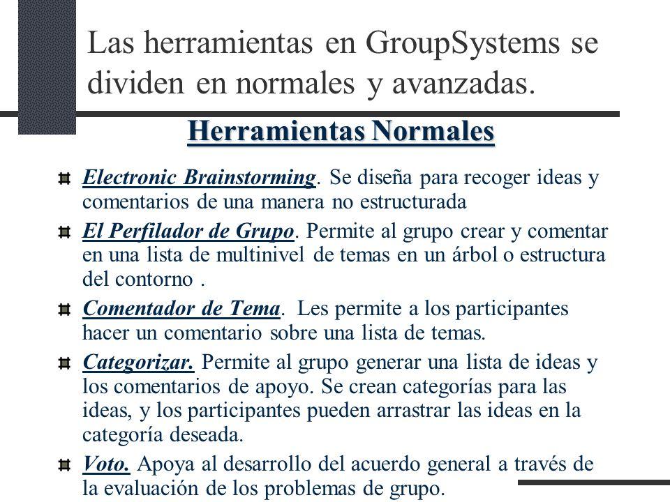 Las herramientas en GroupSystems se dividen en normales y avanzadas. Electronic Brainstorming. Se diseña para recoger ideas y comentarios de una maner