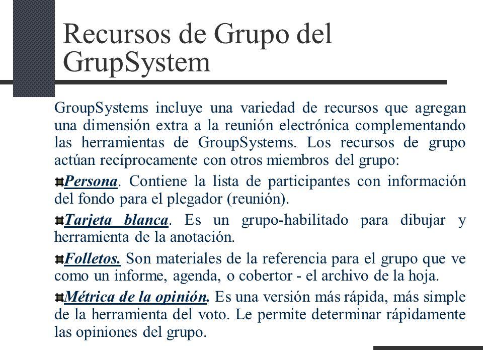 Recursos de Grupo del GrupSystem GroupSystems incluye una variedad de recursos que agregan una dimensión extra a la reunión electrónica complementando