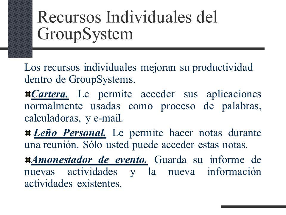 Recursos Individuales del GroupSystem Los recursos individuales mejoran su productividad dentro de GroupSystems. Cartera. Le permite acceder sus aplic