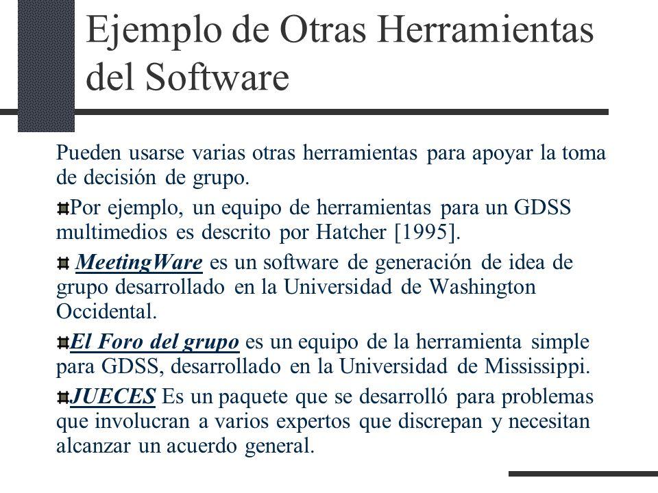 Ejemplo de Otras Herramientas del Software Pueden usarse varias otras herramientas para apoyar la toma de decisión de grupo. Por ejemplo, un equipo de