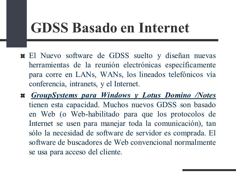 GDSS Basado en Internet El Nuevo software de GDSS suelto y diseñan nuevas herramientas de la reunión electrónicas específicamente para corre en LANs,