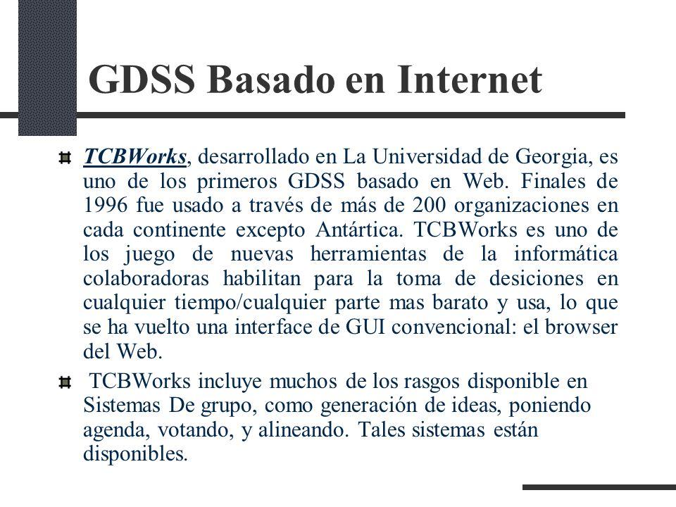 GDSS Basado en Internet TCBWorks, desarrollado en La Universidad de Georgia, es uno de los primeros GDSS basado en Web. Finales de 1996 fue usado a tr