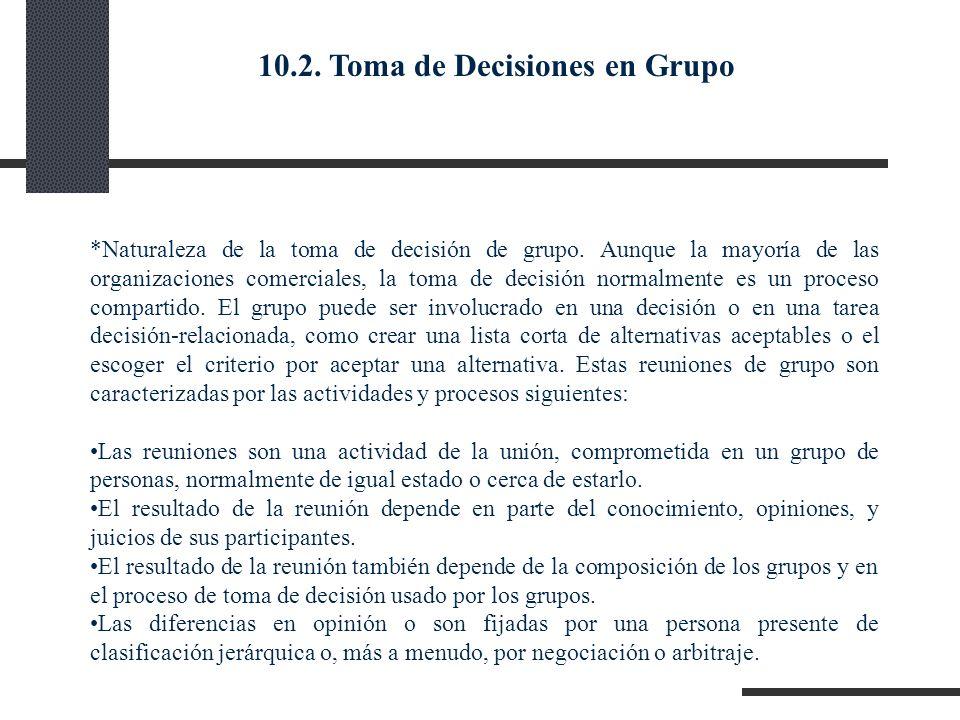 *Naturaleza de la toma de decisión de grupo. Aunque la mayoría de las organizaciones comerciales, la toma de decisión normalmente es un proceso compar