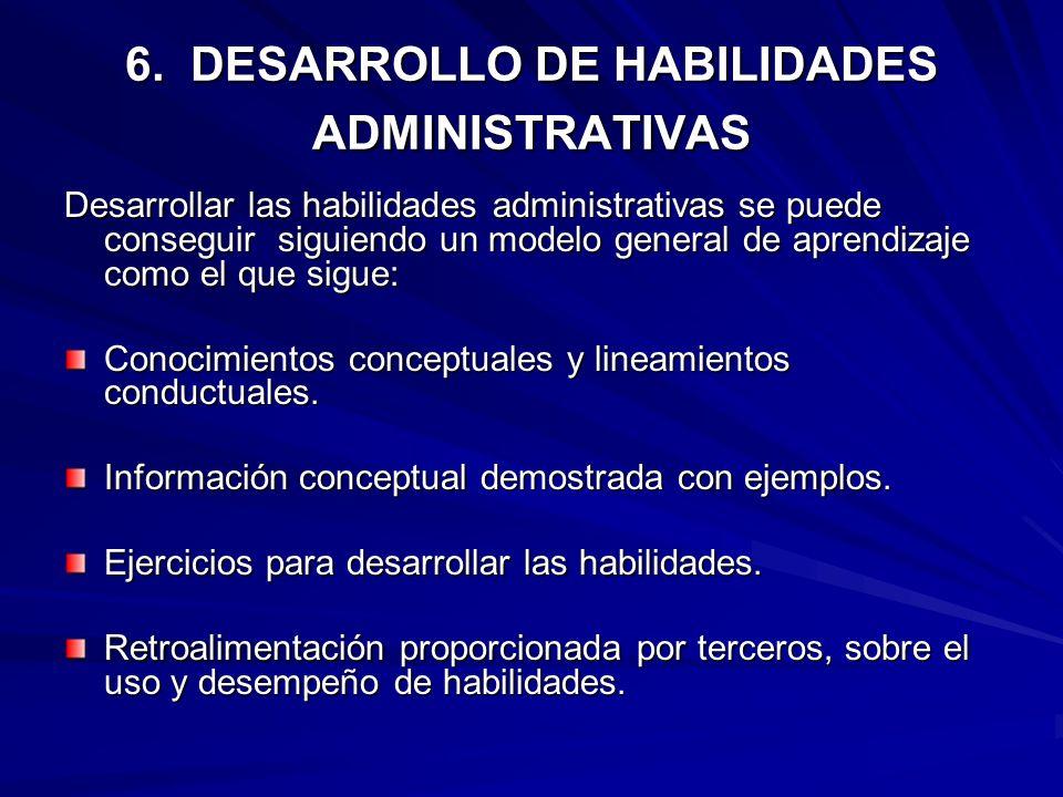 6. DESARROLLO DE HABILIDADES ADMINISTRATIVAS Desarrollar las habilidades administrativas se puede conseguir siguiendo un modelo general de aprendizaje