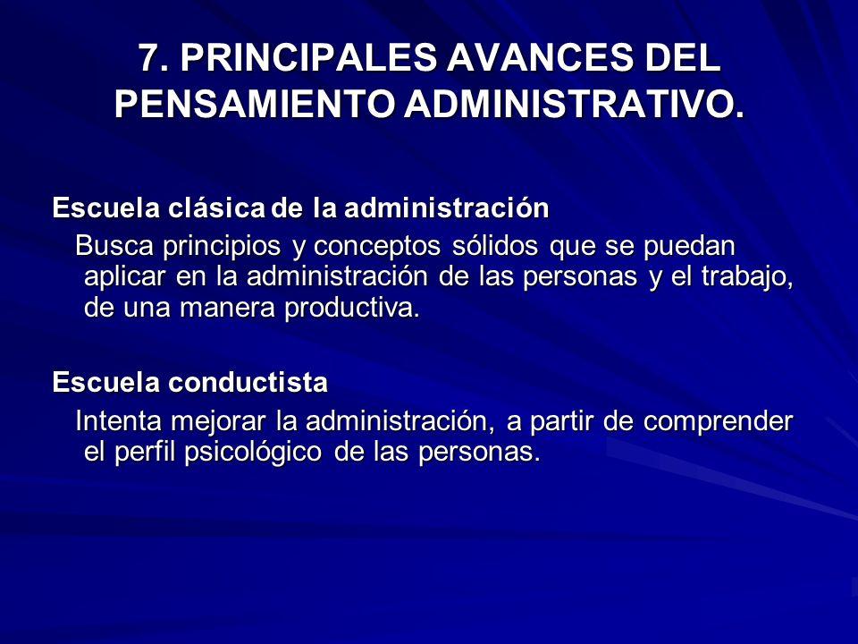 7. PRINCIPALES AVANCES DEL PENSAMIENTO ADMINISTRATIVO. Escuela clásica de la administración Busca principios y conceptos sólidos que se puedan aplicar