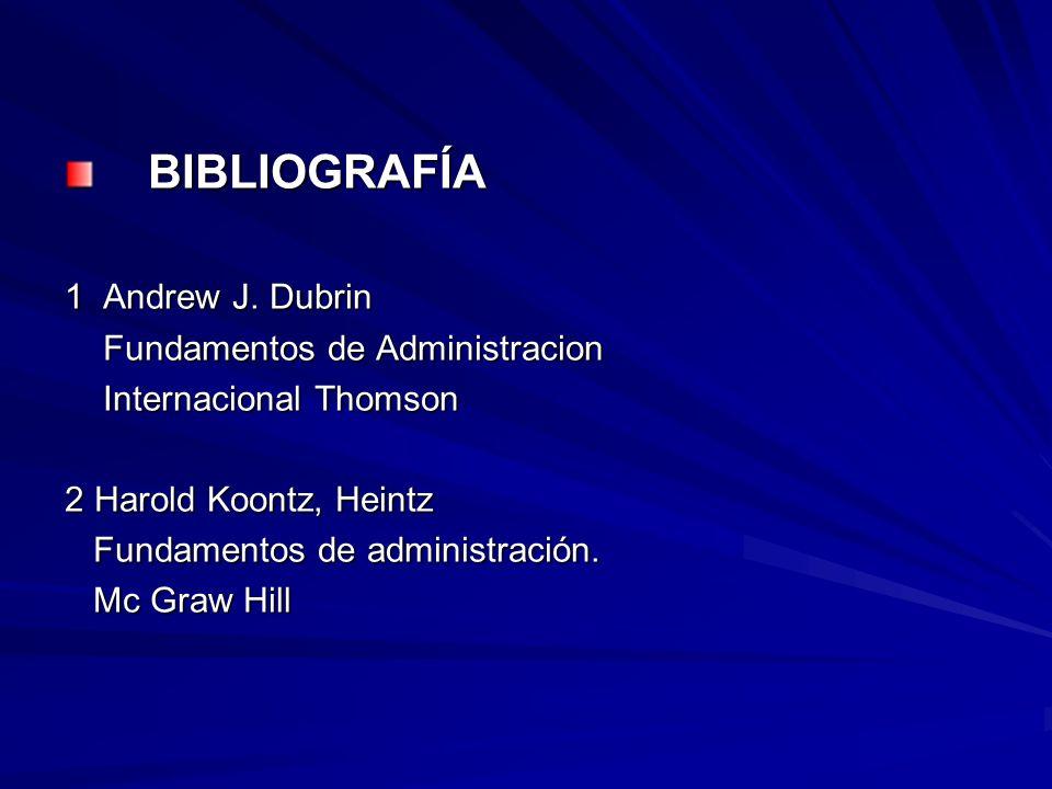 BIBLIOGRAFÍA BIBLIOGRAFÍA 1 Andrew J. Dubrin Fundamentos de Administracion Fundamentos de Administracion Internacional Thomson Internacional Thomson 2