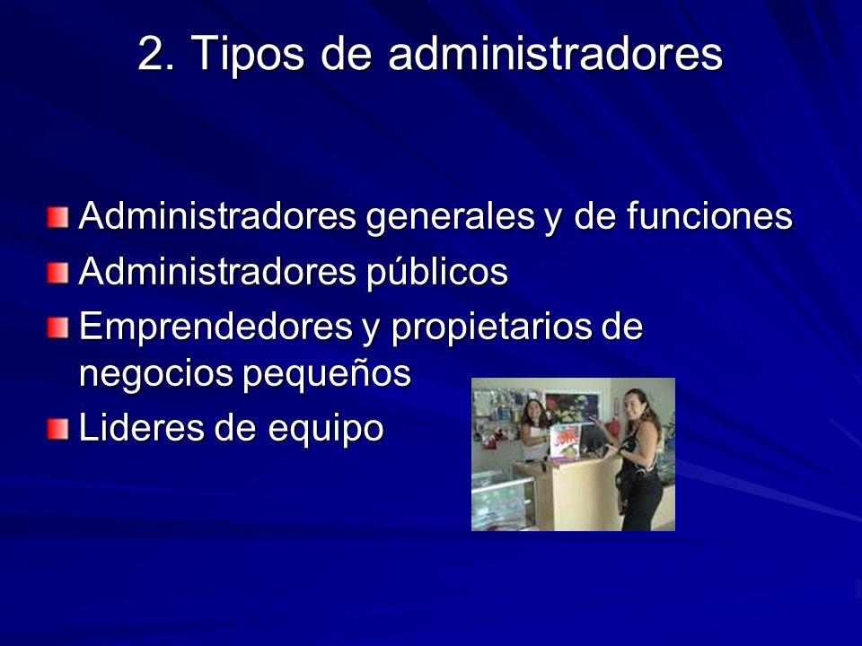 2. Tipos de administradores Administradores generales y de funciones Administradores públicos Emprendedores y propietarios de negocios pequeños Lidere