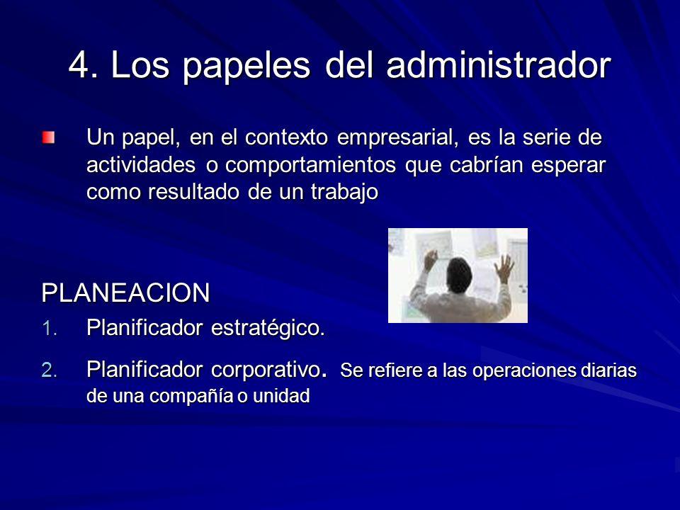 4. Los papeles del administrador Un papel, en el contexto empresarial, es la serie de actividades o comportamientos que cabrían esperar como resultado