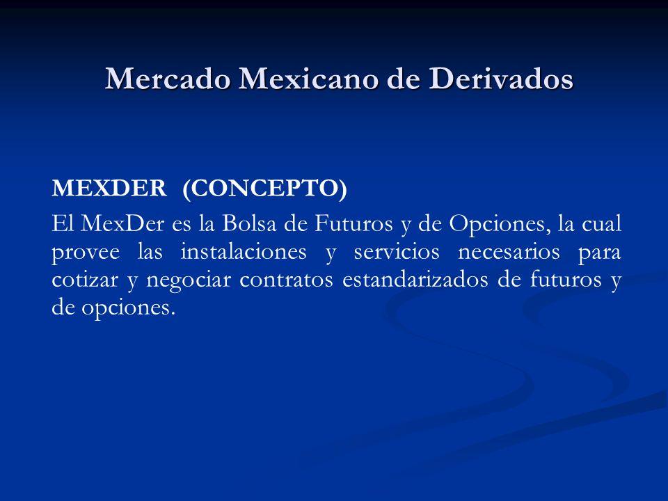 Mercado Mexicano de Derivados MEXDER (CONCEPTO) El MexDer es la Bolsa de Futuros y de Opciones, la cual provee las instalaciones y servicios necesario