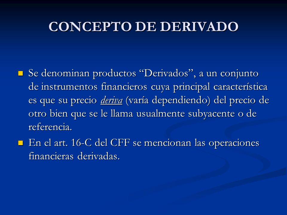CONCEPTO DE DERIVADO Se denominan productos Derivados, a un conjunto de instrumentos financieros cuya principal característica es que su precio deriva