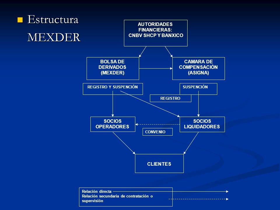 Estructura EstructuraMEXDER Relación directa Relación secundaria de contratación o supervisión AUTORIDADES FINANCIERAS: CNBV SHCP Y BANXICO BOLSA DE D