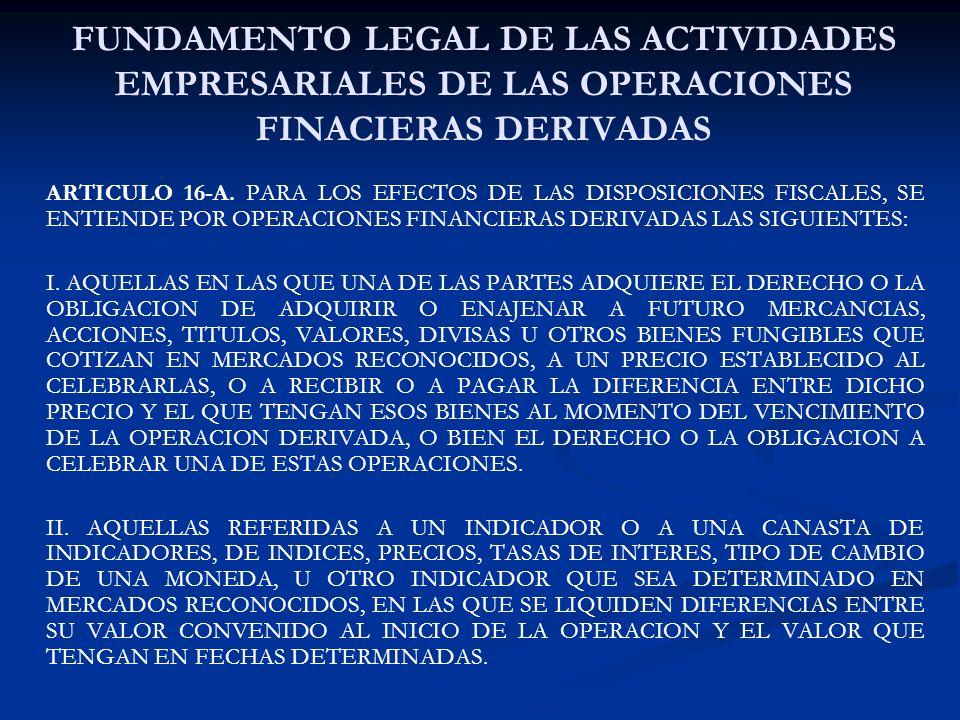 FUNDAMENTO LEGAL DE LAS ACTIVIDADES EMPRESARIALES DE LAS OPERACIONES FINACIERAS DERIVADAS ARTICULO 16-A. PARA LOS EFECTOS DE LAS DISPOSICIONES FISCALE