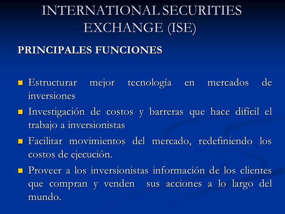 INTERNATIONAL SECURITIES EXCHANGE (ISE) INTERNATIONAL SECURITIES EXCHANGE (ISE) PRINCIPALES FUNCIONES Estructurar mejor tecnología en mercados de inve