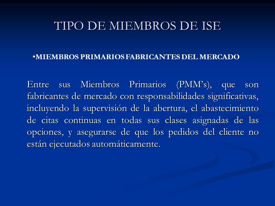TIPO DE MIEMBROS DE ISE Entre sus Miembros Primarios (PMMs), que son fabricantes de mercado con responsabilidades significativas, incluyendo la superv