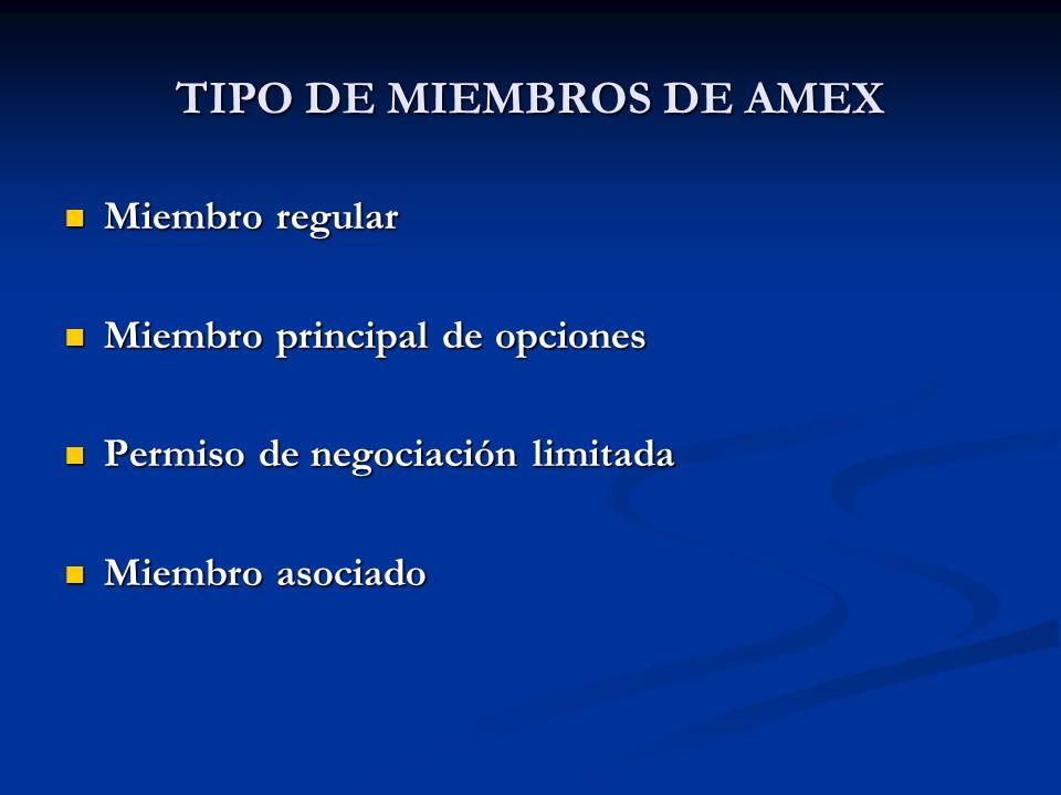 TIPO DE MIEMBROS DE AMEX Miembro regular Miembro regular Miembro principal de opciones Miembro principal de opciones Permiso de negociación limitada P