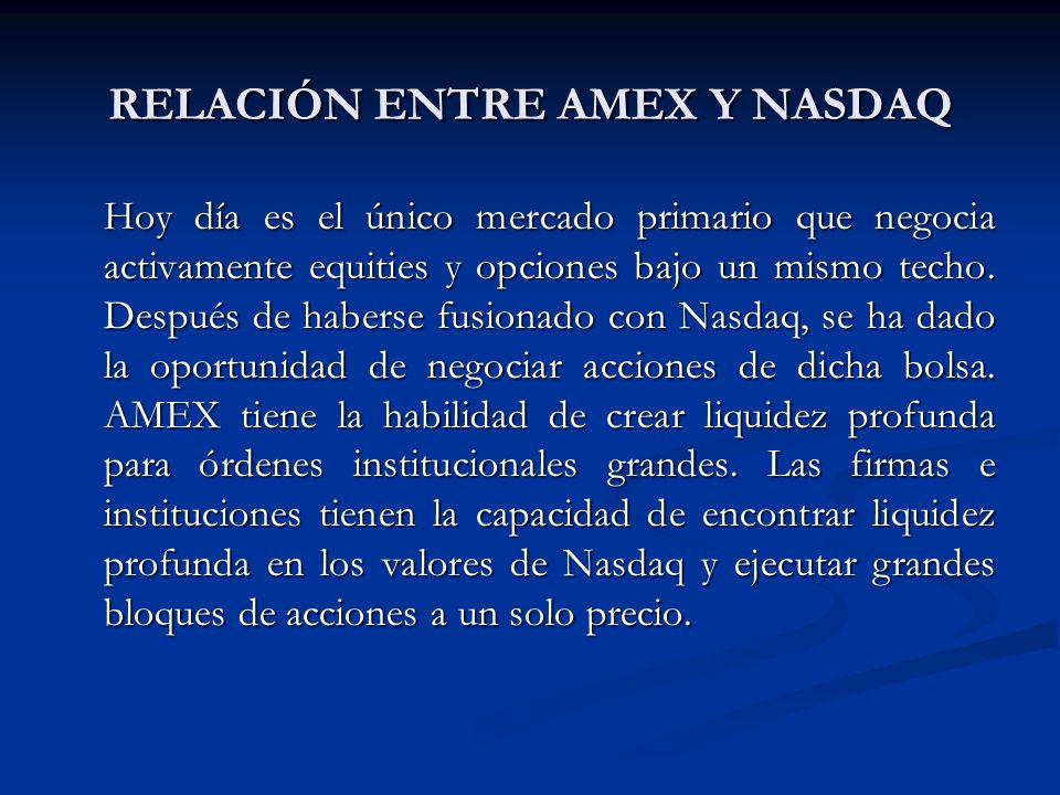 RELACIÓN ENTRE AMEX Y NASDAQ Hoy día es el único mercado primario que negocia activamente equities y opciones bajo un mismo techo. Después de haberse