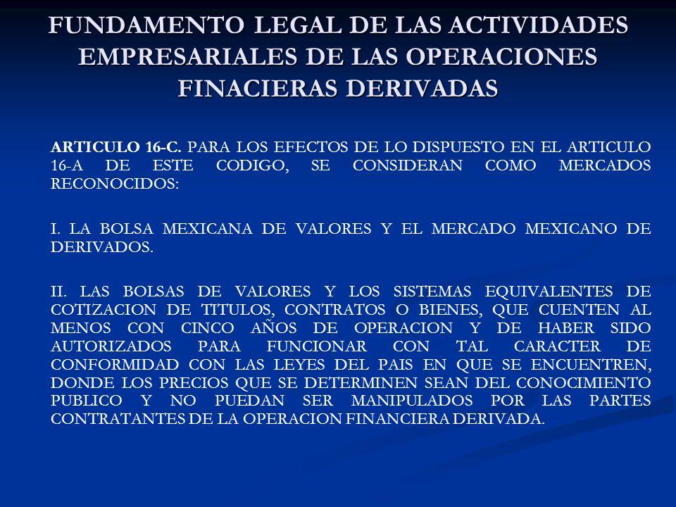 FUNDAMENTO LEGAL DE LAS ACTIVIDADES EMPRESARIALES DE LAS OPERACIONES FINACIERAS DERIVADAS ARTICULO 16-C. PARA LOS EFECTOS DE LO DISPUESTO EN EL ARTICU