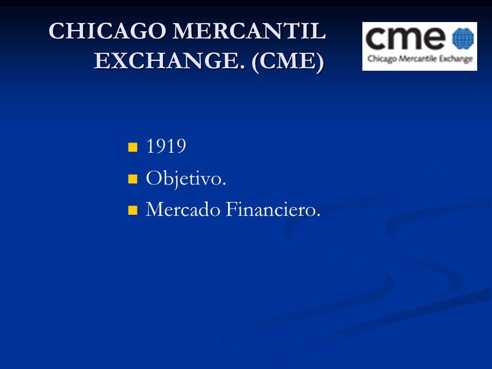 CHICAGO MERCANTIL EXCHANGE. (CME) 1919 Objetivo. Mercado Financiero.