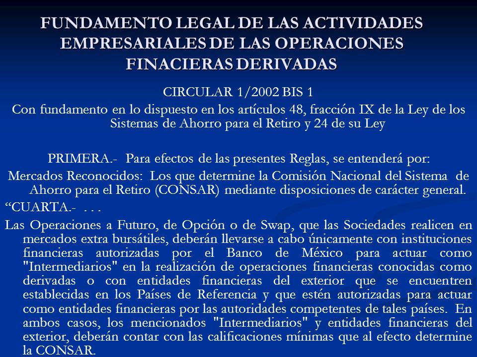 FUNDAMENTO LEGAL DE LAS ACTIVIDADES EMPRESARIALES DE LAS OPERACIONES FINACIERAS DERIVADAS CIRCULAR 1/2002 BIS 1 Con fundamento en lo dispuesto en los