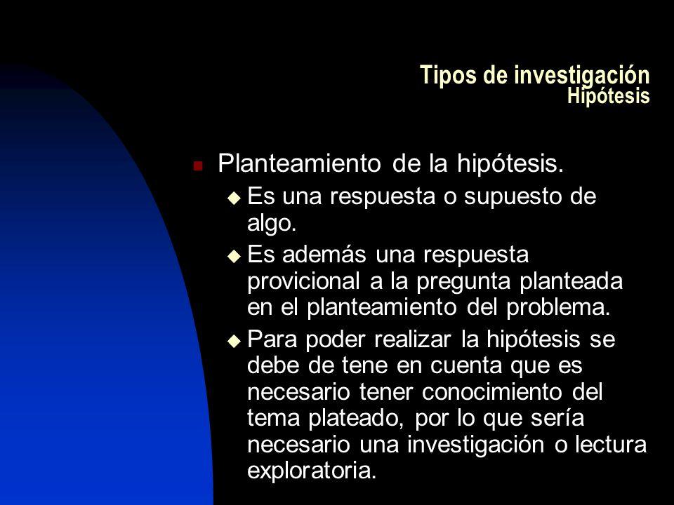 Tipos de investigación Hipótesis Planteamiento de la hipótesis. Es una respuesta o supuesto de algo. Es además una respuesta provicional a la pregunta