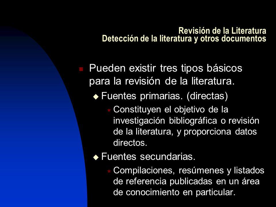 Revisión de la Literatura Detección de la literatura y otros documentos Pueden existir tres tipos básicos para la revisión de la literatura. Fuentes p