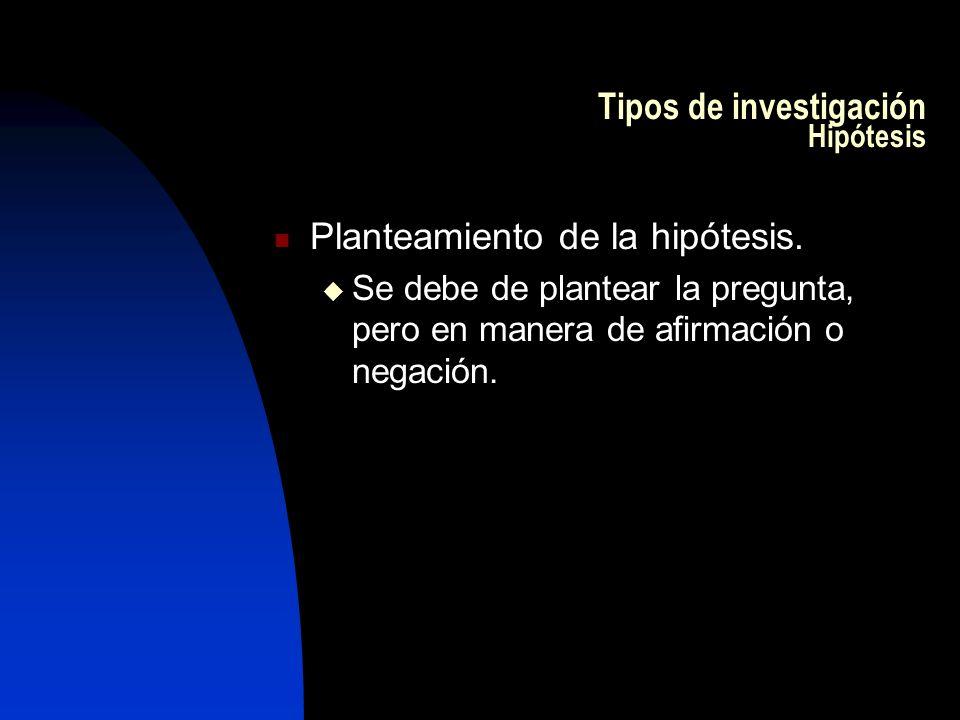 Tipos de investigación Hipótesis Planteamiento de la hipótesis. Se debe de plantear la pregunta, pero en manera de afirmación o negación.