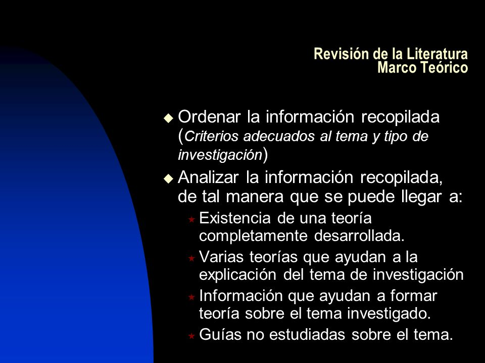 Revisión de la Literatura Marco Teórico Ordenar la información recopilada ( Criterios adecuados al tema y tipo de investigación ) Analizar la informac