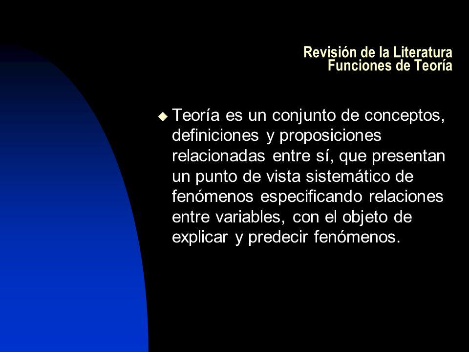 Revisión de la Literatura Funciones de Teoría Teoría es un conjunto de conceptos, definiciones y proposiciones relacionadas entre sí, que presentan un