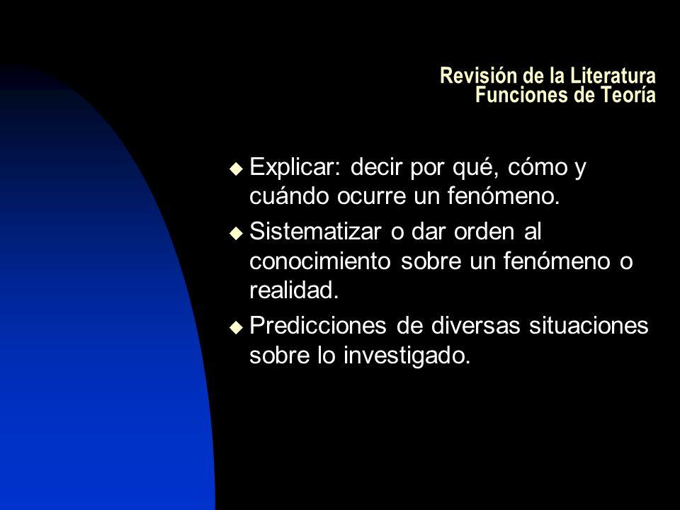 Revisión de la Literatura Funciones de Teoría Explicar: decir por qué, cómo y cuándo ocurre un fenómeno. Sistematizar o dar orden al conocimiento sobr