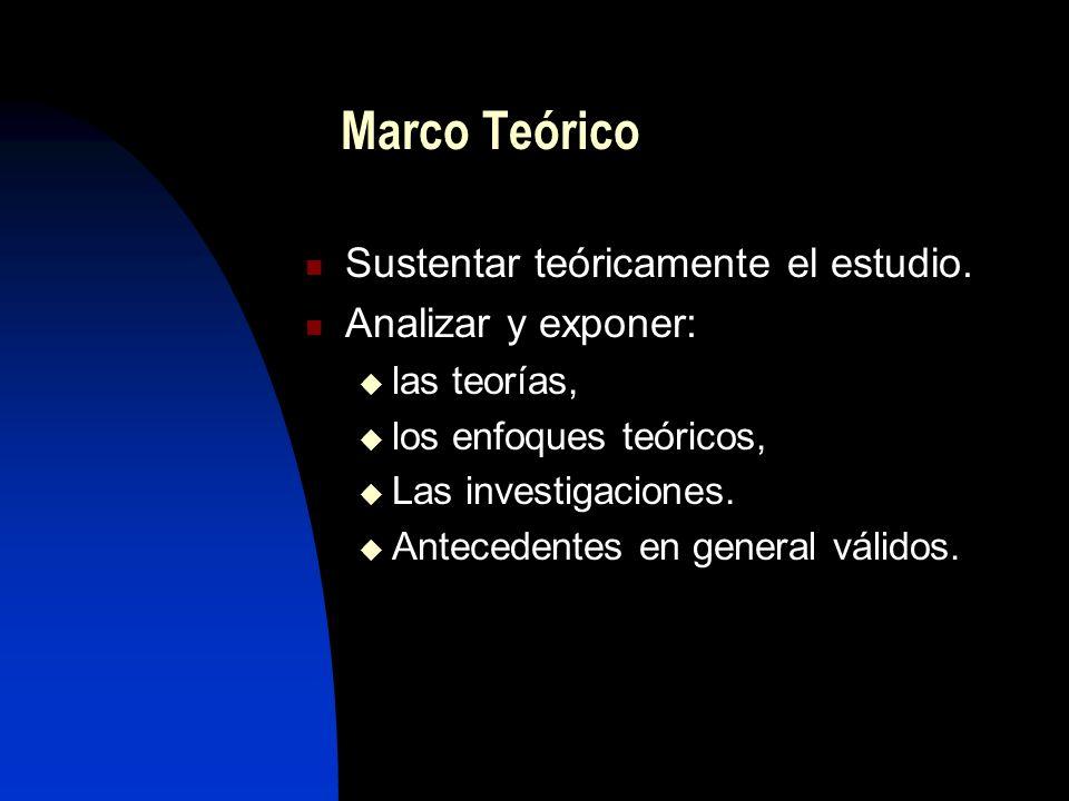 Marco Teórico Sustentar teóricamente el estudio. Analizar y exponer: las teorías, los enfoques teóricos, Las investigaciones. Antecedentes en general
