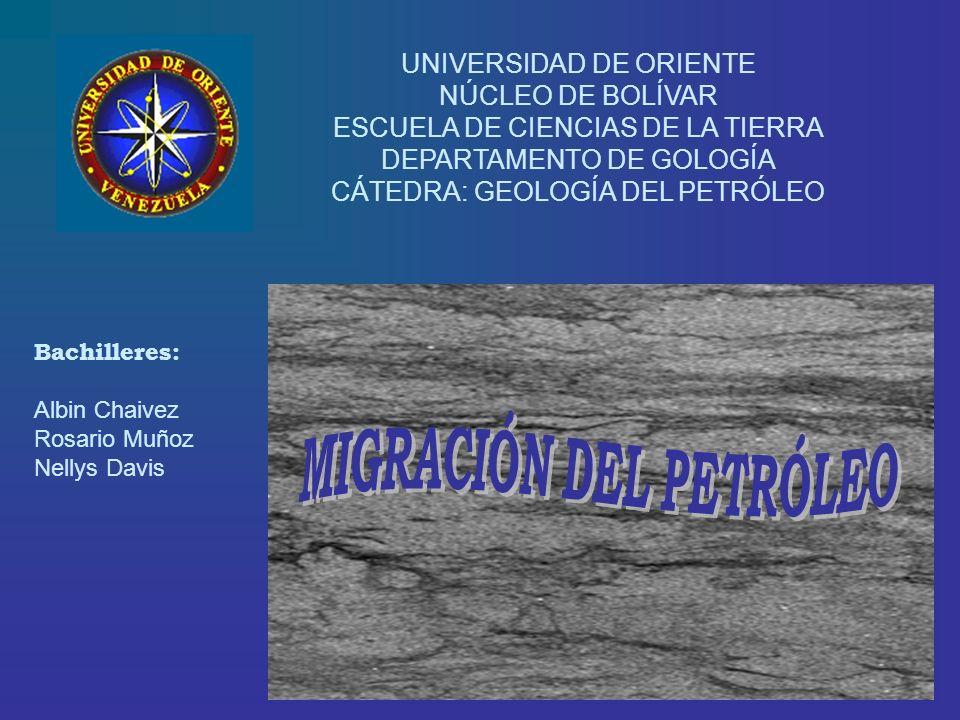 UNIVERSIDAD DE ORIENTE NÚCLEO DE BOLÍVAR ESCUELA DE CIENCIAS DE LA TIERRA DEPARTAMENTO DE GOLOGÍA CÁTEDRA: GEOLOGÍA DEL PETRÓLEO Bachilleres: Albin Ch