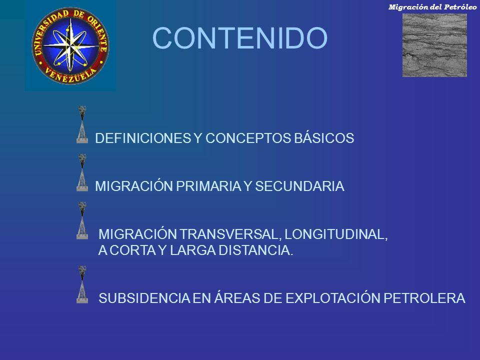 CONTENIDO DEFINICIONES Y CONCEPTOS BÁSICOS MIGRACIÓN PRIMARIA Y SECUNDARIA MIGRACIÓN TRANSVERSAL, LONGITUDINAL, A CORTA Y LARGA DISTANCIA. SUBSIDENCIA