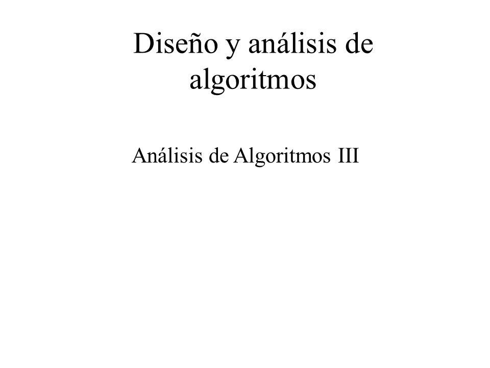 Analisis, casos prácticos Cálculo de complejidad para recurrencias Desventajas: Solución de problemas es más ineficiente en tiempo y espacio que las versiones iterativas, debido a la llamada a subprogramas, la creación de variables dinámicas en la pila, etc.