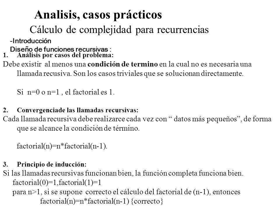 Analisis, casos prácticos Cálculo de complejidad para recurrencias -Introducción Diseño de funciones recursivas : 1.Análisis por casos del problema: D