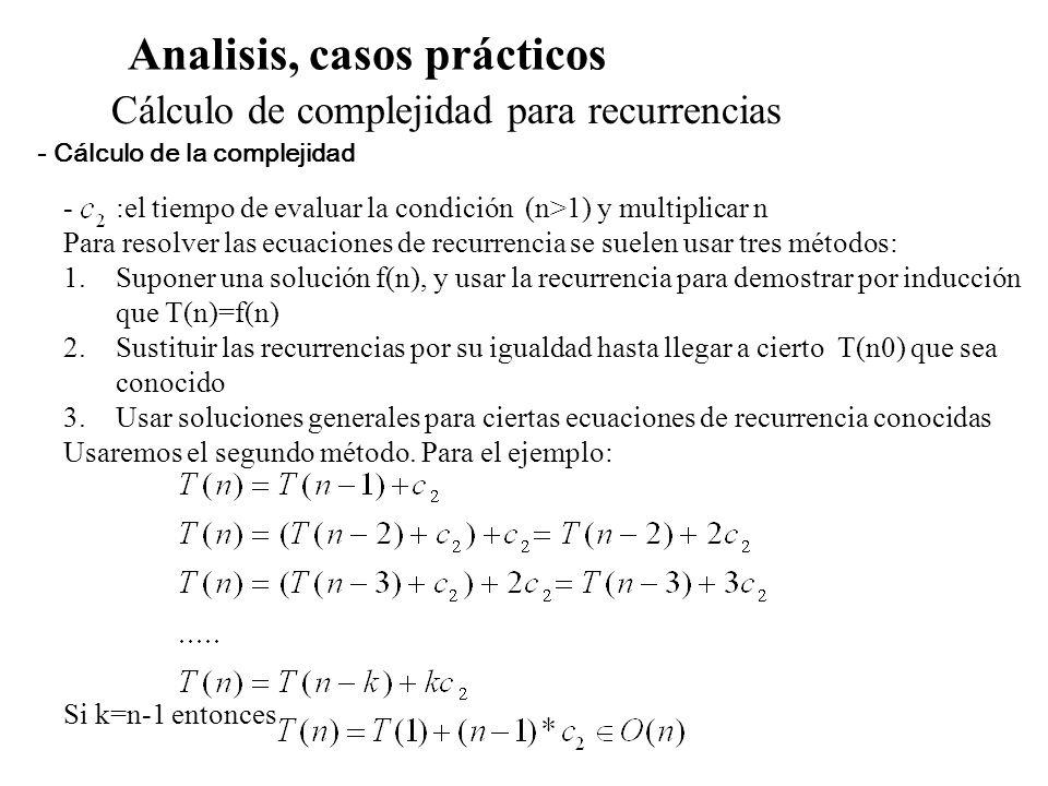 Analisis, casos prácticos Cálculo de complejidad para recurrencias -:el tiempo de evaluar la condición (n>1) y multiplicar n Para resolver las ecuacio