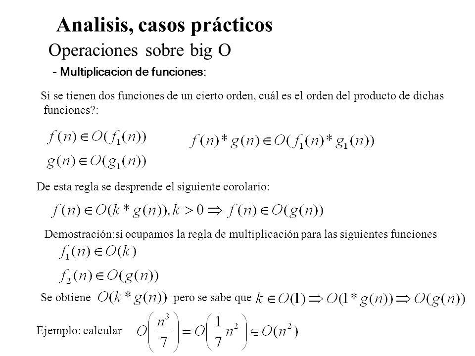 Analisis, casos prácticos Cálculo de complejidad para recurrencias Ejemplo: funcion rec(n:entero):entero; inicio si n<=1 entonces rec:=1 sino rec:= rec(n-1)+rec(n-1) fin - Cálculo de la complejidad, si n<=1, si n>1 T(n)=2T(n-1)+1= =2(2T(n-2)+1)+1 = 2T(n-2)+(2-1).......