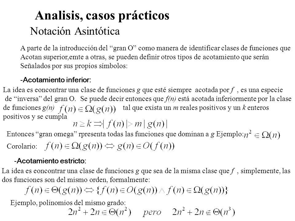 Analisis, casos prácticos Cálculo de complejidad para recurrencias Ejemplo: funcion rec2(n:entero):entero; inicio si n<=1 entonces rec2:=1 sino rec:= 2*rec(n DIV 2) fin - Cálculo de la complejidad, si n<=1, si n>1 T(n)=T(n/2)+1= = T(n/2 )+1+1=T(n/2 ) +2.......