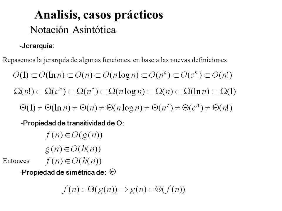 Analisis, casos prácticos Notación Asintótica -Jerarquía: Repasemos la jerarquía de algunas funciones, en base a las nuevas definiciones -Propiedad de
