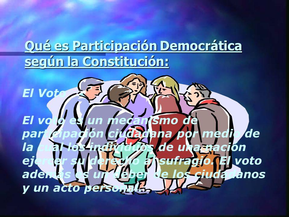 Qué es Participación Democrática según la Constitución: El Voto El voto es un mecanismo de participación ciudadana por medio de la cual los individuos
