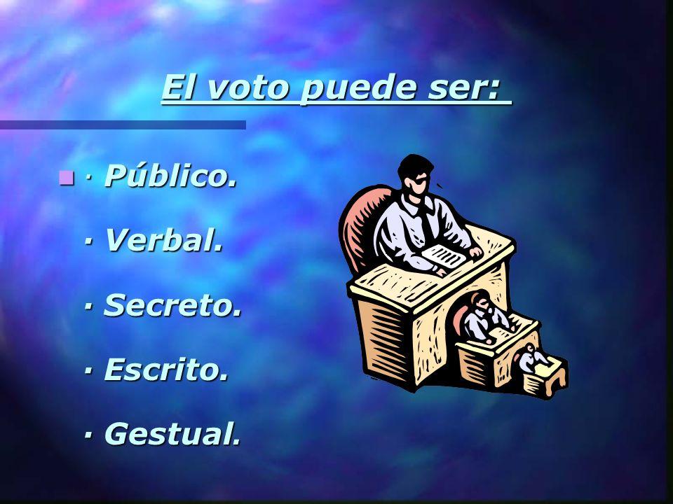 · Público. · Verbal. · Secreto. · Escrito. · Gestual. · Público. · Verbal. · Secreto. · Escrito. · Gestual. El voto puede ser:
