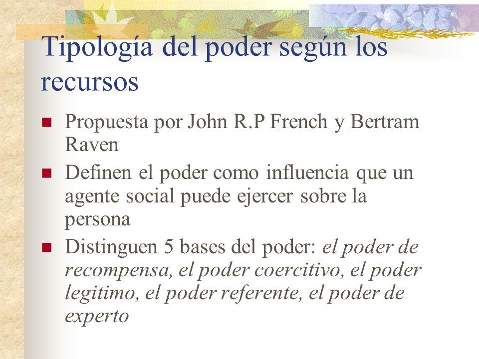 Tipología del poder según los recursos Propuesta por John R.P French y Bertram Raven Definen el poder como influencia que un agente social puede ejerc
